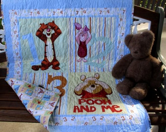"Fun ""Winnie the Pooh and Friends ""Peek A Boo"" 35""W x 43L"" *Stippling Quilted* Reversible Baby Crib Toddler Blanket Bedding Napping Blanket"