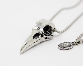 SALE - Raven Skull Necklace Solid Sterling Silver Raven Skull Necklace 053