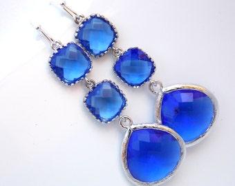 Blue Earrings, Cobalt Blue, Glass Earrings, Long Earrings, Dangle, Silver, Bridesmaid Jewelry, Bridesmaid Earrings, Bridal, Bridesmaid Gift