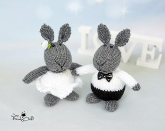 Stuffed bunny couple Unique Wedding gift for couple Plush bunny rabbit Romantic gift Wedding decoration Bride and Groom gift Stuffed animals