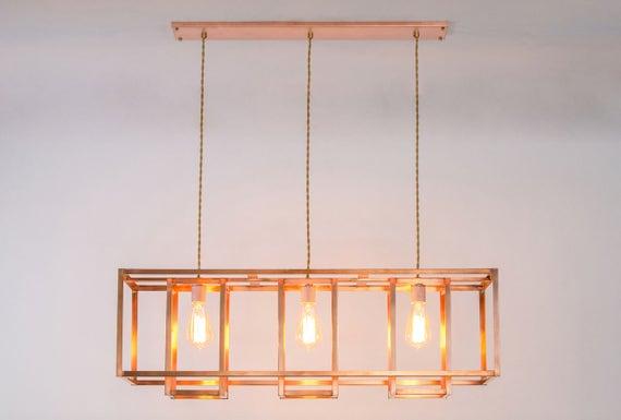 Minimalist rustic farmhouse chandelier copper geometric aloadofball Choice Image
