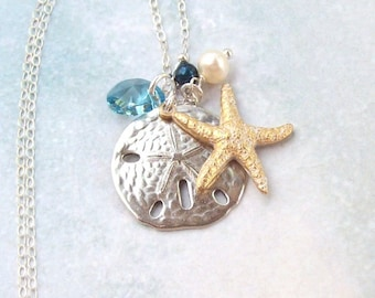Gold Starfish Necklace, Silver Sand Dollar Necklace, Tropical Necklace, sterling silver, aqua, swarovski, blue, beach jewelry women