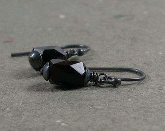 Vintage Black Glass Bead Earrings Oxidized Sterling Silver Simple Minimalist Earrings