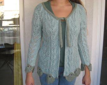 Veste en laine femme fait main