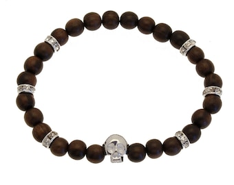 Bracelet Skull (925) Ebony wood & Crystal