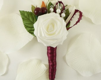 Vineyard Origami Rose Boutonniere, Groom Wedding Boutonniere, Rustic Rose Boutonniere, Winery Wedding, Berry buttonhole