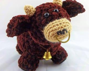 Cute little bull - amigurumi crochet plush toy