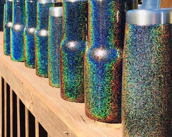 Black Rainbow - Prismatic Glitter Tumbler - Yeti Rambler / RTIC / Ozark - Powdercoated - Cheapest on ETSY
