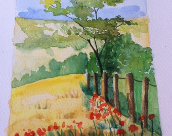 Spring landscape watercolor painting