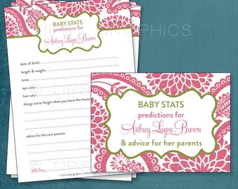Pretty Paisley & Mum Baby Wishes  By Tipsy Graphics. Madlib. AdLib. Baby Statistics. Printable Cards, any Colors