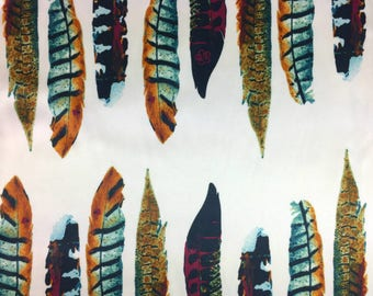 Large Feather Print Satin Fabric - 58 Inches Wide