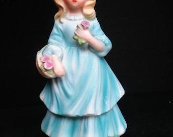 Vintage Avon Girl in Blue Dress Figurine/Avon Collectible Girl/Avon Girl in Blue Dress