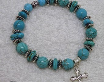 Bracelet with Turquoise Beads and Silver Cross