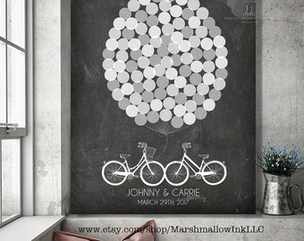 Rustic Guest Book Alternative Wedding Tree, Rustic Wedding Guest Book, Wedding Gift, Wedding Signs, Bicycles Guest Book Balloons Guestbook