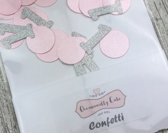 Confetti, table confetti, Birthday confetti, first birthday, party decorations, pink and silver