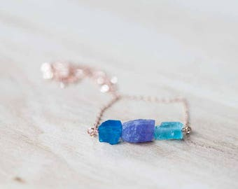 Raw Tanzanite & Apatite Pendant on Sterling Silver or Rose Gold Filled Chain, Raw Blue Gemstone Necklace, Rough Apatite Nugget Necklace