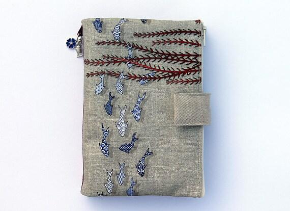 "Purse Organizer / AOR illustrated linen ""Littles fihes azulejos"""