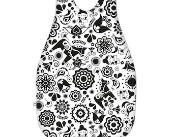 Monochrome Scandinavian Folk Art Garden Unisex Baby Sleeping Bag