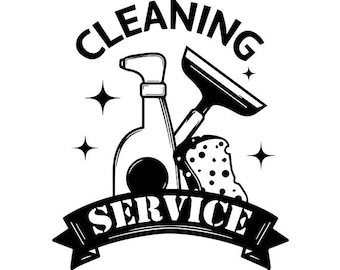 Cleaning Logo #13 Maid Service Housekeeper Housekeeping Clean Vacuum Mop Floor .SVG .EPS .PNG Digital Clipart Vector Cricut Cutting Download