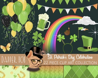 St. Patrick's Day Celebration Party Clipart Collection | St Patty's PNG Clip Art and Digital Paper Set