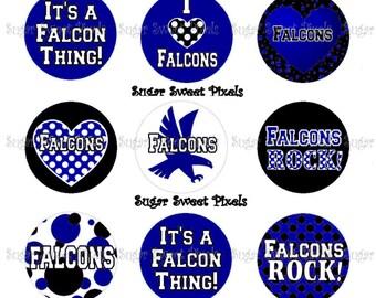 INSTANT DOWNLOAD Falcons Blue Black School Mascot Digital 1 inch circle Bottlecap  Images