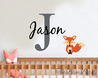 Fox Name Decal - Children name decal - name fox decal - wall decal name - name boy decal -nursery decor- Fox wall decal-personalized name