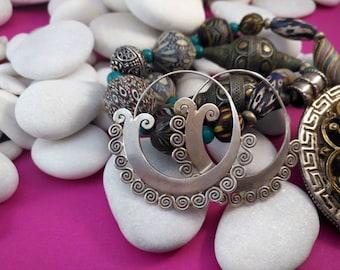 Handcrafted silver earrings. Sterling silver Ethnic earrings.