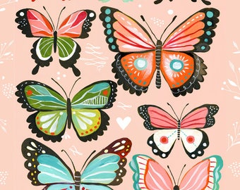 Butterfly Collection Pink - various sizes - STRETCHED CANVAS - Katie Daisy art