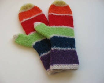 Mittens, hand knit and felted