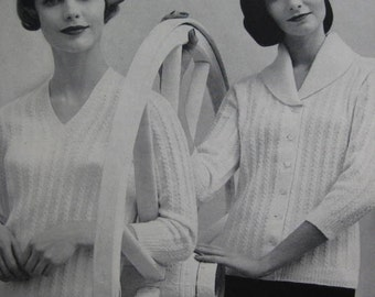 Knit Sweater Patterns - Vintage Patterns, 1960's Ladies' Knitted Sweater PDF Patterns 733-24, 733-25
