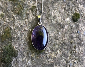 Amethyst Necklace Pendant - Handmade & Silver