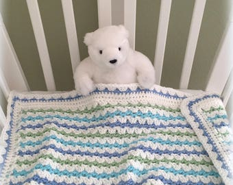 Crochet Baby Blanket Pattern - EASY CROCHET pattern - Del Mar Baby Blanket - Crochet Patterns by Deborah O'Leary