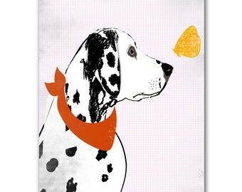 Dalmatian Dog   - Fine art print,dog art prints,, dog decor, black silhouette,pet , animal,Dog art