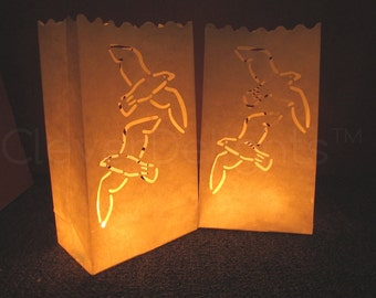 30 White Luminary Bags - Two Doves Design - Wedding, Reception, and Party Decor - Flame Resistant Paper - Candle Bag - Luminaria