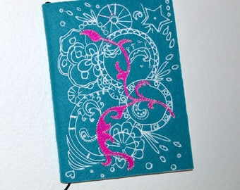 Notebook design embroidered-exclusive-it is easier to draw Pink White