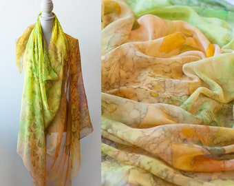 Silk Chiffon Shawl Hand Painted Scarf Ginkgo Leaves And Maidenhair Fern Custom Made