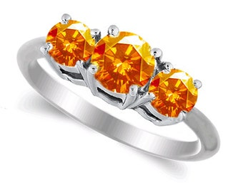 orange sapphire ring 14k white gold