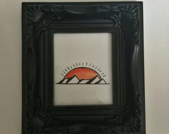Small Traditional Tattoo Flash Framed Sunset