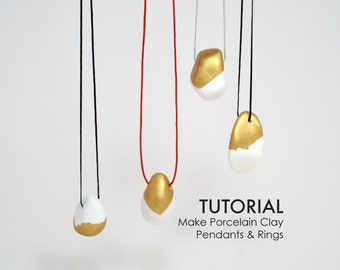 Make Unique Porcelain Clay Pendants and Rings Tutorial