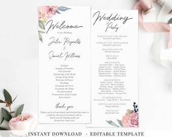 Wedding Program Printable Program Editable Template Dusty Neutral Mauve Nude Watercolor Flowers Modern Wedding Order of Service Ceremony