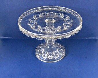 Antique EAPG CAKE STAND Circa 1891 The Hero aka Ruby Rosette Elson Glass Co Salver Skirted Rim Pastry Display