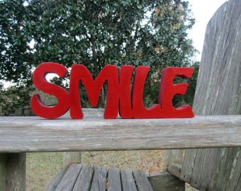 wooden smile sign shelf sitter or wall hanging choice of colors