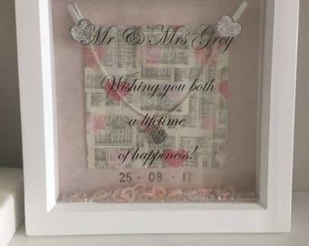 Wedding gift personalised to display names and wedding date