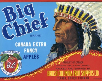 Big Chief Brand Canadian Apples crate label