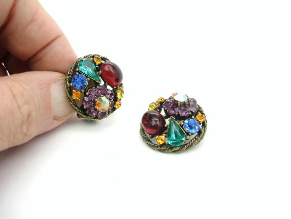 Vintage Weiss Multi Color Rhinestone Earrings. Older Mark, 1950s Jewelry.