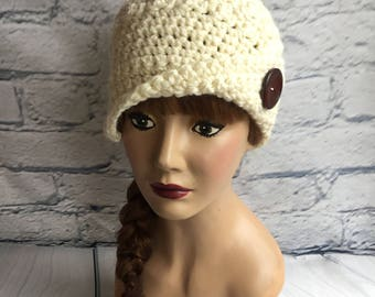 Chunky Crochet Beanie with Flip Big Button Brim in Cream Woman Teen Cloche