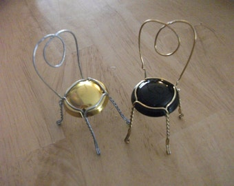 RESERVED Listing for Shannon - Champagne Wire Cage Chair Place card  holders or picture holders - Miniature dollhouse chairs -