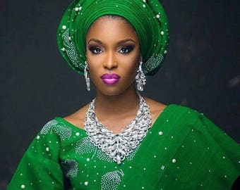 Embellished Aso-oke Fabric with option for Gele Headgear, Ipele Shoulder gear and Fully Embellished Aso-oke Iro & Buba for African Weddings.