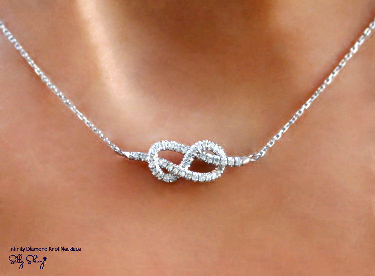 Infinity necklace diamond pendant necklace white gold zoom mozeypictures Choice Image