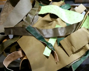 Leather Scraps - 13 oz (370 g) of Shades of Green Leather 1698